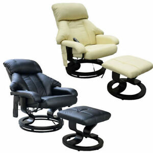Deluxe Faux Leather Massage Recliner Easy Sofa Chair Foot Stool Beauty Couch Bed