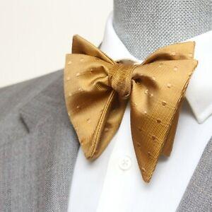 Men's Self tied Bow Tie Dusty Gold Silk Big Butterfly Bow tie 503
