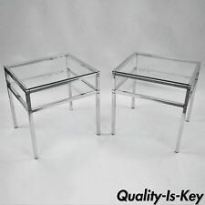 Pair of Vintage Mid Century Modern Chrome & Glass Two Tier End Tables Baughman