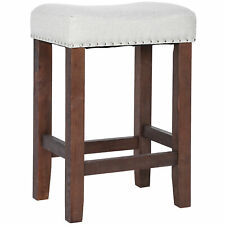 "24"" Bar Stools Kitchen Dining Room Saddle Seat Wooden Counter Stool"