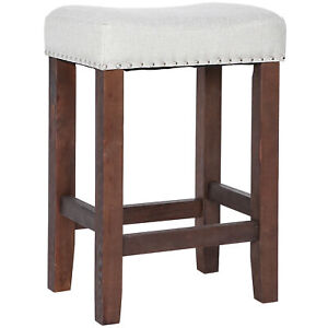 """24"""" Bar Stools Kitchen Saddle Seat Wooden Counter Stool  Dining Room"""