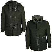 Soul Star Mens Smart Casual Duffle Black Jacket Over Coat Collared Hooded Jacket