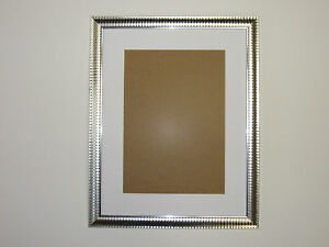 Two Tone Silver 12x16 Picture  Photo Frame  Mount 7.5x11.5 Hang