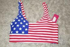 Womens Size Extra Small American Flag Ribbed Back Bikini Top NWT Xhiliaration