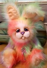 Rainbow Bunny Rabbit OOAK Plush Artist Bear By Devine Bears