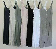 New Summer Ladies Italian Lagenlook  Button Through Sleeveless Linen Strap Dress