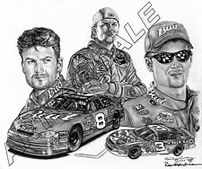 DALE EARNHARDT JR NASCAR COLLAGE 20x24 LITHOGRAPH SIGNED BY ROBERT STEPHEN SIMON