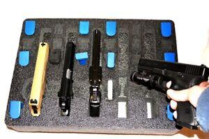 Precut 5 pistol handgun foam + storage fits your Pelican 1520 case +nameplate