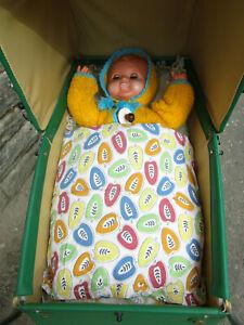 Zekiwa Puppenwagen DDR kompl. Babypuppe mit Stimme Kissen Regenschutz TOP