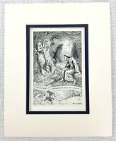 1909 Antico Stampa Fauno Greco Mitologia Woodland Fantasia Art Frank C Pape