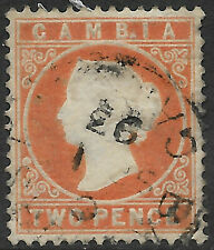 Gambia 1886 2d deep orange QV sg 25 used