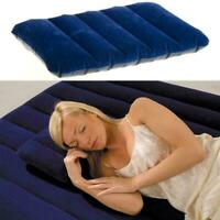 Camping Mattress Portable Inflatable Flocked Pillow Cushion Pad Outdoor Tra E7G6