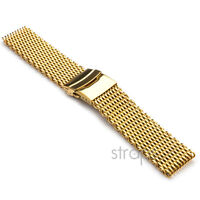 22mm PVD Yellow Gold Shark Mesh Stainless Steel Watch Band Strap fits Breitling