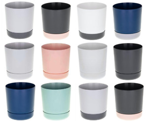 Plant pots with saucers indoor outdoor drain holes small large matt many SATINA