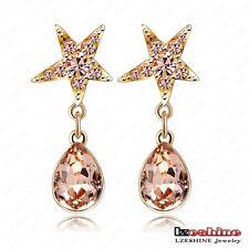 18K Gold Plated oval Austrian Crystal Wedding star stud threader Earrings women