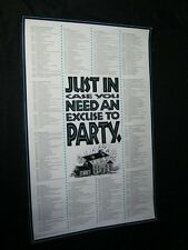 Original 1992 JUST IN CASE YOU NEED AN EXCUSE TO PARTY Man Cave Vintage Poster