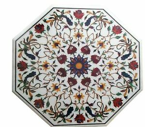 White Marble Dining Table Top Inlaid Gemstone Marquetry Mosaic Patio Decors Arts