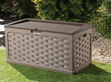 Rattan Style Brown Garden Storage Box With Sit on Lid Plastic Waterproof Chest