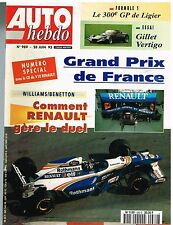 A21- Auto Hebdo N°989 Grand Prix de France Williams Benetton,Gillet Vertigo