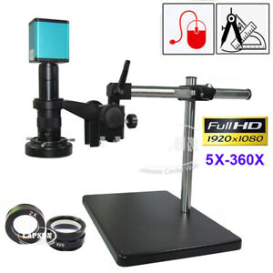 5-360X HDMI Industry C-Mount Microscope Set Camera Sony IMX290 185 Measure Ruler