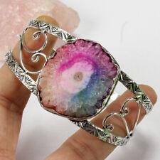 Silver Plated Bangle Jewelry St-03017 Rainbow Solar Quartz Druzy 925