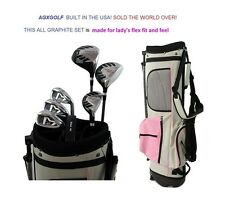 AGXGOLF LADIES GRAPHITE GOLF SET w/PINK BAG +DRIVER+HYBRID+IRONS+PW+PUTTER