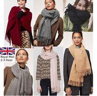 Large Classic Plain Ladies Women Winter Warm Tartan Check Shawl Scarf Wrap Stole