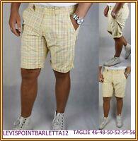 Bermuda da uomo slim in cotone pantaloni corti shorts gialla pantaloncini 48 50