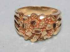 SOLID 14K YELLOW GOLD NUGGET RING MEN'S SIZE 9.5 (9.5 GMS)
