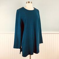 Size Large L J Jill Womens Blue Navy Striped Tunic Top Blouse Long Sleeve Shirt