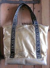 Victoria's Secret Metallic Gold Tote Bag Leopard Interior Logo Web Satchel Strap