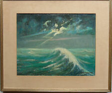 JAN CLAESSENS 1879-1963 ORIGINAL SIGNED OIL PAINTING 'IMPRESSIONIST SEASCAPE'
