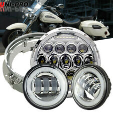 """7"""" LED Style Headlight + Passing Lamp Fit Harley Davidson Road King FLHR"""