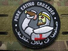 PORK EATING CRUSADER US ARMY ISAF TACTICAL MORALE  AUFNÄHER KLETT PATCH AIRSOFT