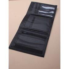 .plain black Ripper Wallet Money Purse Zip Velcro Pocket Card Holder UK SELLER,