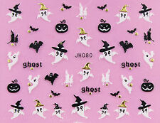 Halloween Black Bat Pumpkin White Ghost GOLD Stud 3D Nail Art Sticker Decal