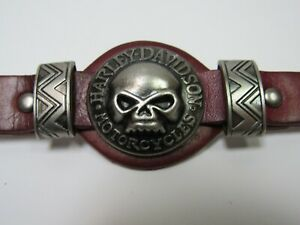 "Harley Davidson Men's Ox Blood Leather Biker Bracelet Fits 7.5 - 9"" Wrists New!"