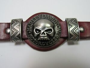 "Harley Davidson Men's Ox Blood Leather Biker Bracelet Fits 7.5 - 9"" Wrists New!"