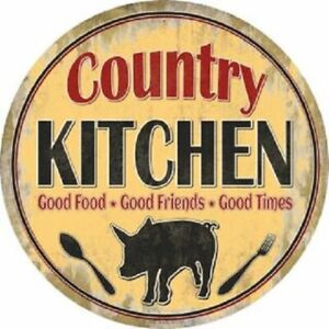 """COUNTRY KITCHEN  FARMHOUSE STYLE 12"""" ROUND LIGHTWEIGHT METAL WALL SIGN"""