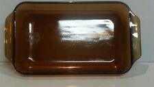 Anchor Hocking Amber Glass 432 1.5 Qt Casserole Cake Pan Baking Dish Vintage