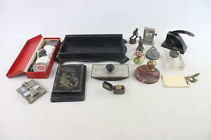 15 x Antique / Vintage Desk Accessories Inc Desk Tidy, Inkwells, Brass Etc