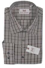 NEW $145 Hickey Freeman Oxford Shirt!  16.5 35  *Brown & White Glen Plaid*
