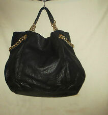 Juicy Couture 'Brogue X-Large Duchess' Chain Tote Black Leather  NEW msrp 425.00