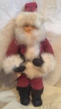 Vtg  U.S. Santa Soft Sculpture Figure Cheri Calvert Casler Leather Mohair Fur