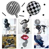 Black and White Checker Stripe Style Aluminum Foil Balloon Party Wedding Decor