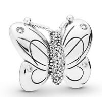 Charm Decorative Butterfly With Crystal  925 Silver Fit European Bracelet