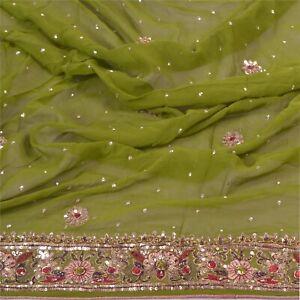 Sanskriti Vintage Dupatta Long Stole Georgette Green Hand Beaded Wrap Scarves