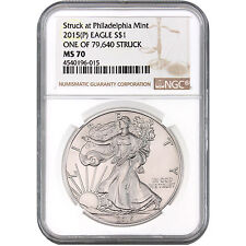 "2015 (P) Silver Eagle NGC MS70 ""One of 79,640 Struck"" label"