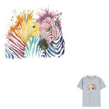 Color Zebra Iron On Patches Washable Heat Transfer Stickers Clothes Applique  I#