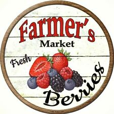 "Farmers Market Berries 12"" Round Metal Kitchen Sign Novelty Retro Home Decor"